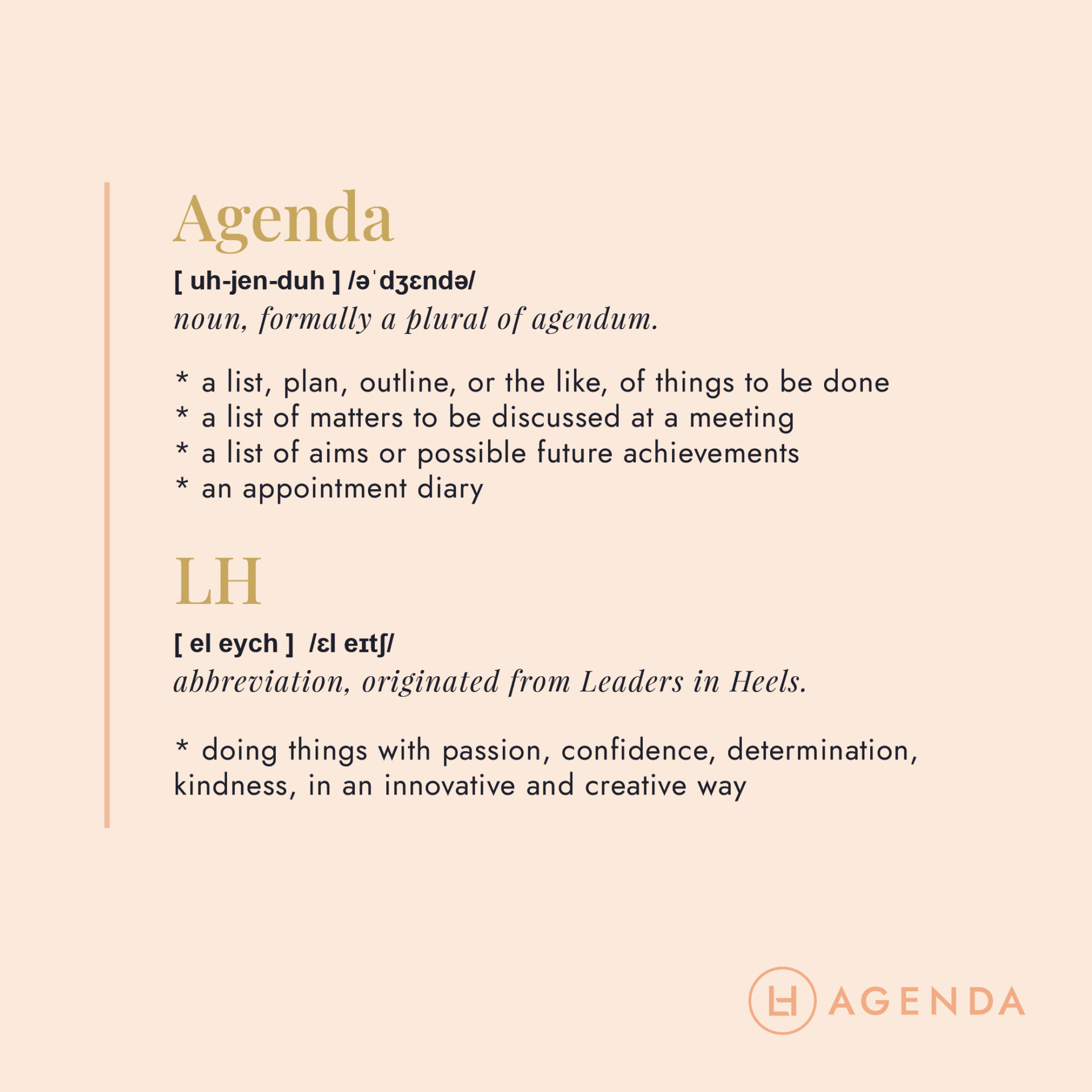 LH Agenda Meaning